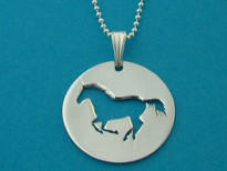 Horse Lovers Cutout Pendant Necklace Sterling Silver
