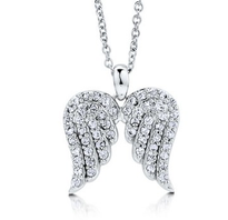 Angel Wings CZ Sterling Silver Pendant Necklace