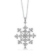 Snow Flake CZ Sterling Silver Pendant Necklace