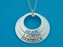 Three Circle Of Life Mother's Necklace Engraved Pendant
