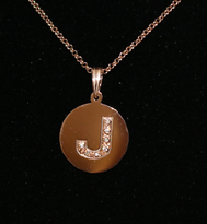 Circle Studded Initial Necklace with CZ Crystals