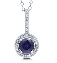 CZ Simulated Sapphire 925 Silver Halo Pendant Necklace