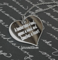 Engraved Family Love Heart Necklace Sterling Silver