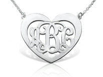 Thick Rim Heart Shaped Monogram Necklace Script Styl