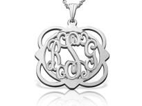 Multi Shape Monogram Pendant Necklace Script Style