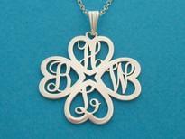 Flower Monogram Pendant Necklace Script Style