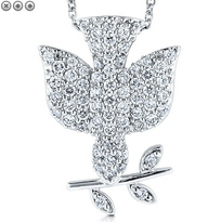 Peace Dove  Bird Sterling Silver Pendant Necklace with CZ