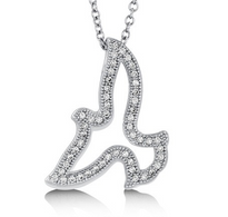 Flying Bird Sterling Silver Pendant Necklace with CZ
