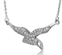 In Flight Bird Sterling Silver Pendant Necklace with CZ