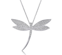 Dragonfly Sterling Silver Pendant Necklace with CZ