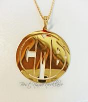 Circle Monogram Necklace Block Font