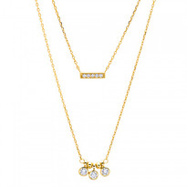 Double Gold Plated Pave Bar Necklace and Dangle Circles