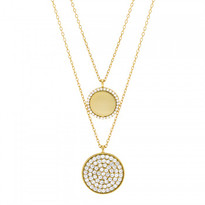 Double Gold Plated CZ Pave Circle Necklace