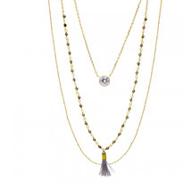 Gold Plated Tri-Layer Beads and Tassel Necklace