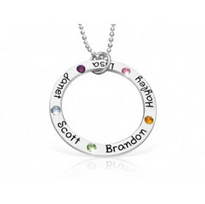 Family Circle Of Love Necklace with Birthstones