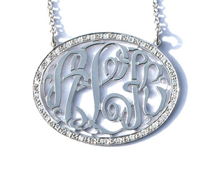 Solid Gold Round Monogram Necklace with 1 1/2ct Diamonds