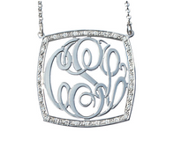 Solid Gold Square Alice Monogram Necklace with 1 1/2ct  Diamonds
