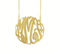 Solid 14k Gold Bella Monogram Necklace