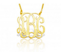 Solid 14k Gold Classic Monogram Necklace