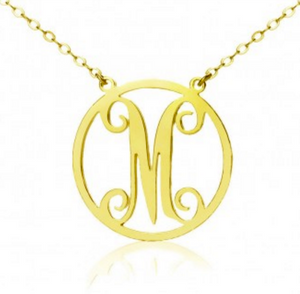Solid 14k Gold Samantha Monogram Necklace