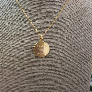 I Love You Mom Disc Necklace