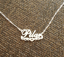 Name Necklace With Wings and Heart