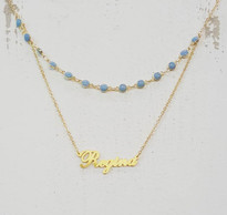 Custom Double Layer Name Necklace With Turquoise Flat Bead Chain