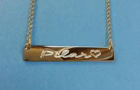 Engraved Nameplate Necklace Gold