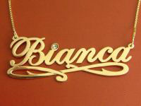 Bianca Gold Name Necklace with Swarovski Crystal