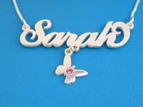 Sara with Butterfly Charm Name Necklace