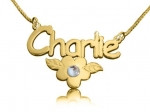 Charlie with Flower Name Necklace Gold-Plated with Swarovski Element