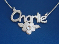 Charlie Name Necklace with Flower and Swarovski Crystal