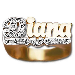 gold two rings rose allegro ring name finger personalized