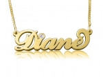 Diane Gold Plated Name Necklace with Swarovski Element