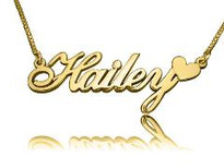 Hailey Heart Gold Plated Name Necklace