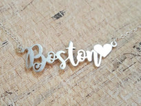 Fancy Swirl Name Necklace with Heart