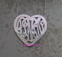 Heart Monogram Necklace Interlocking Style