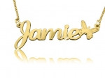 Jamie with Butterfly Gold Plated Name Necklace