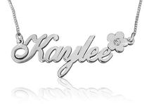 Kaylee Name Necklace with Flower and Swarovski
