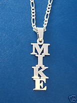 Mike Vertical Name Necklace, Man name necklace, print namenecklace, name on chain, vertical nameplate