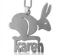 Rabbit Bunny Name Necklace, Easter