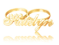 Two Finger Ring Name Gold Plated with Swarovski