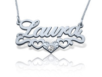 Laura Heart Trio Name Necklace in Silver