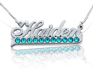Haiden Name Necklace with Swarovski Tail