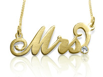 Mrs Carrie Gold Plated Name Necklace with Swarovski Element || BestNameNecklace