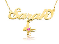 Sarah with Butterfly Charm Gold Plated Name Necklace with Swarovski Element