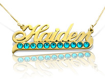 Haiden with Tail Gold Plated Name Necklace with Swarovski Element