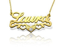 Laura Heart Trio Gold Plated Name Necklace with Swarovski Element