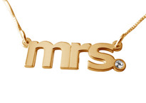 Mrs. Verdana Gold Plated Name Necklace with Swarovski Element