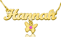 Hannah with Butterfly Charm Gold Plated Name Necklace with Swarovski Element